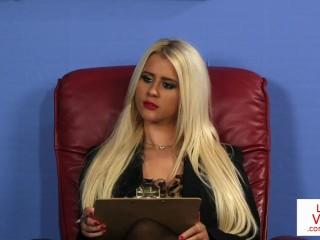 Classy british voyeur watching sub in office