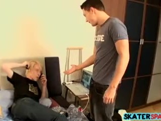 Fabio gets to spank his skater friend Mac the rough way