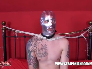 Horny gimp raw and despunked after femdom Strapon Jane had him gagging and ass fucking on her big strapon cock