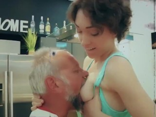Grandpa caught masturbating by my step daughter she lets him fuck her