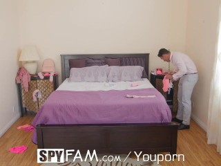 SpyFam Step sister Kenzie Kellie catches step brother sniffing panties