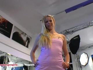 Beautiful Blonde Claudia fucks her Pussy in Casting - German Goo Girls