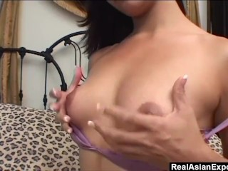Tiny Asian gets anal fucked by dick and dildo