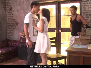 Gorgeous milf Wakaba Onoue sex with two younger males  - More at Japanesemamas.com