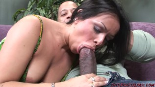 Slut wife takes thick black cock while husband works