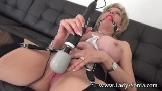 Lady Sonia is roped and gagged, and makes herself cum