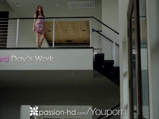 PASSION-HD Exhausted boyfriend welcomed home with fuck from Nina North