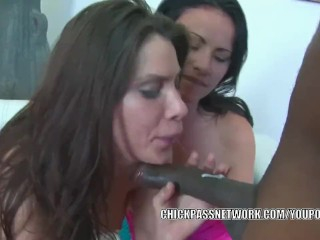 Horny babes Ashli and Alexa get fucked in a hot threesome