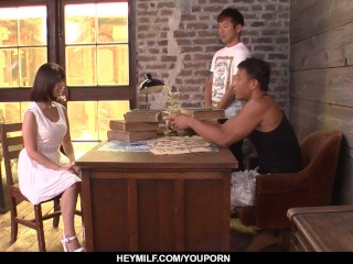 Wakaba Onoue fucked by two men in hard scenes  - More at Japanesemamas.com