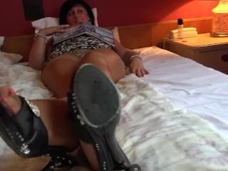 Mature women nylon soles