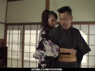 Naughty  Yui Oba enjoys man licking and sucking her tits  - More at Japanesemamas.com