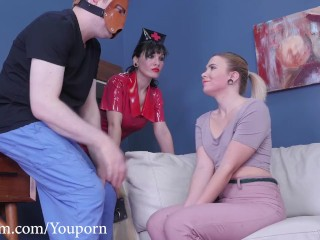 Humiliation-hungry whore devours man's ass and feat