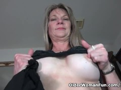 American milf Lucky strips...