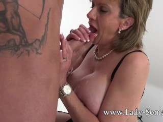 British sexy mom Sonia gives a massage and gains banged superb