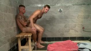 Horny 4 Hairy Guys, Tattoos & Big Dicks In A Public Shower!