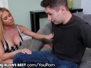 HOT MILF Rachel Roxxx Sucks 18yo Step Son's Young Big Dick