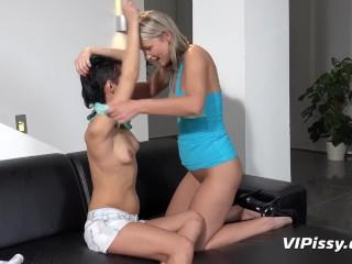 Pissing Lesbians - Samantha Jolie and her girlfriend drinking piss