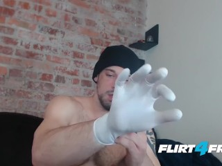 Flirt4Free Model Allen Cole - Hunk with Latex Gloves Jerks Off His Big Uncut Cock