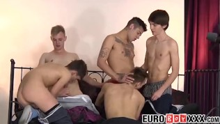 Euro twinks have a wild anal orgy with lots of cum