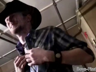Cowboy pisses in his own mouth and jerks off with his friend
