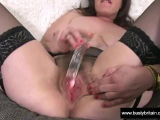 Busty British Hairy Sexy milf Sex toy Fucking