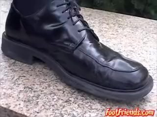Gay man Doug is playing with his feet in public for your eyes