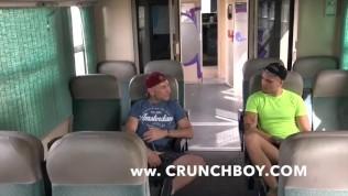 straight guy fuck bareback a gay in public train