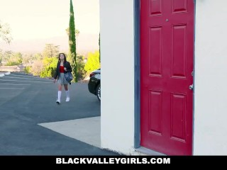 BlackValleyGirls - Ebony Teen Deepthroats And Sneak Fucks Her Neighbor