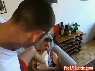 Javor and Alex licking their feet and cocks on the bed