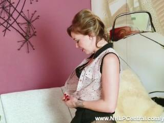 Frisky blonde Lucy Lauren strips off retro black lingerie and wanks in nylons designer stiletto heels