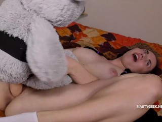 Flawless soft gorgeous teen fucking her teddy bear together with being very delighted with it