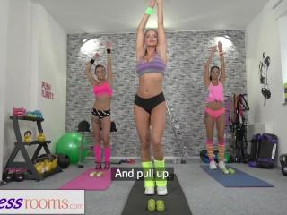 Fitness Rooms Lesbian Gym girls finger fuck when big tits teacher is away