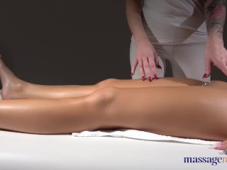 Massage Rooms Big tits tattoos blonde pleasures oiled up brunette