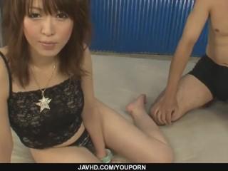Petite Sayaka Tsuzi gets her hairy pussy toyed - More at javhd.net