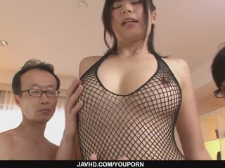 Three guys get a japanese girl blow job from Saki Aoyama - More at javhd.net