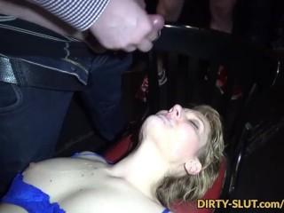 Slutwife Nicole eating cum from plenty of guys