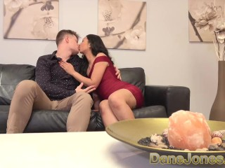 Dane Jones Petite Asian in sexy red evening dress fucked on the couch.mov