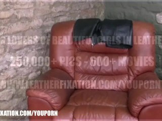 Kinky babes tease and explore the feeling of leather on their gorgeous natural boobs and bodies