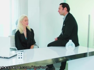 Cute Blonde Teen Masseuse Gets Creampied By Boss Man