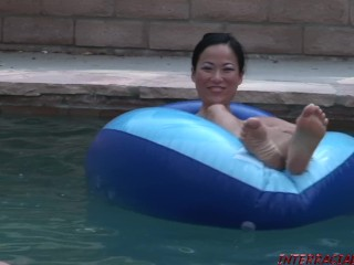 Asian girl pummeled by two big black dicks