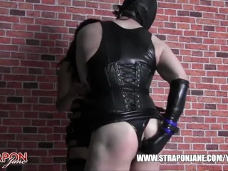Femdom Strapon Jane dominates and fucks tight leather fetish TGirls horny wet pussy