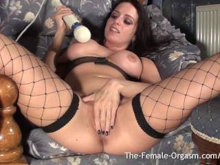 Femorg Babe in Fishnets Masturbates to Multiple Dripping Wet Pussy Orgasms