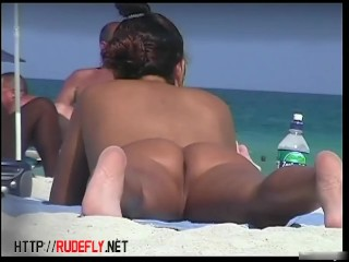 Beach fun with many nude curvaceous bimbos being caught on my spy cam