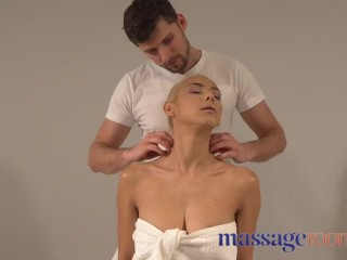 Massage Rooms Oiled pretty blonde Columbian with perfect tits deepthroats