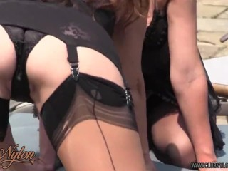Horny Milf in nylons and lingerie licks and fucks busty blonde lesbians lovely wet pussy poolside