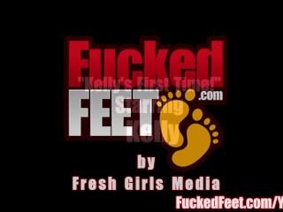 Amateur Teen Gives First Footjob for FuckedFeet!