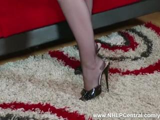 Redhead babe Anna Belle peels off kinky black lingerie giving JOI wanking in RHT nylons garter belt