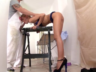 Melody Petite Blows Big Cock Until Her Mouth Gets Filled With Jizz
