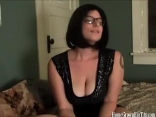 Huge tit babe masturbating on home video