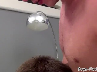 Hung jock uses homos ass and mouth as cock and piss sleeves